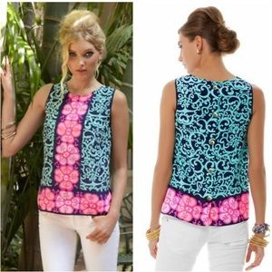 LILLY PULITZER Iona Fountain Hopping Silk Top